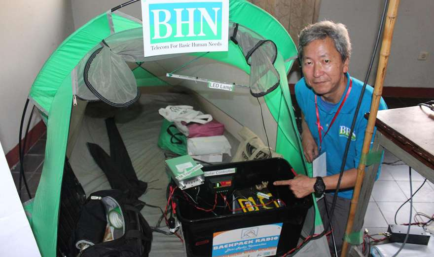 Back pack radio station brings relief broadcasts during emergencies